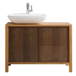 Vinnova Monza 40-inch American Red Oak Single Vanity with White Vessel Sink