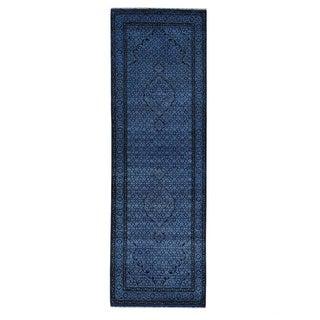 Handmade Denim Blue Wool/ Silk Tabriz Mahi Oriental Rug (2'8 x 8'3)