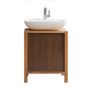 Vinnova Monza 24-inch American Red Oak Single Vanity with White Vessel Sink