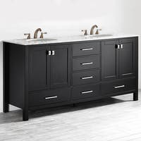 Vinnova Gela 72-inch Double Vanity in Espresso with Carrera White Marble Top (Mirrorless)