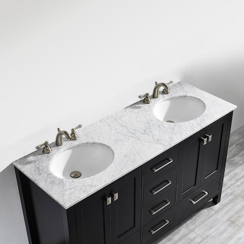 Vinnova Gela 60-inch Double Vanity in Espresso with Carrera White Marble Top (Mirrorless)