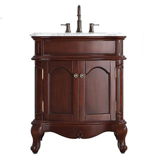 Vinnova Messina 30-inch Single Vanity in Antique Cherry with Carrera White Marble Top (Mirrorless)