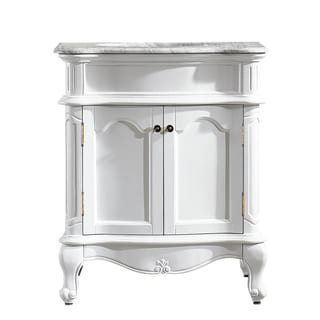 Vinnova Messina 30-inch Single Vanity in White with Carrara White Marble Top (Mirrorless)