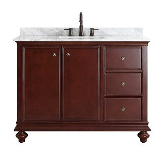 Vinnova Venice 48-inch Antique Cherry Mirrorless Single Vanity with Carrara White Marble Top
