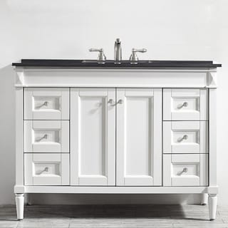 48 inch white mirrorless single vanity with black galaxy granite top