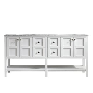 Vinnova Florence 72-inch White Mirrorless Double Vanity with Carrara White Marble Top
