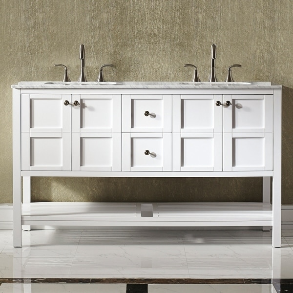 Vinnova Florence 60-inch White Mirrorless Double Vanity with Carrara White Marble Top. Opens flyout.