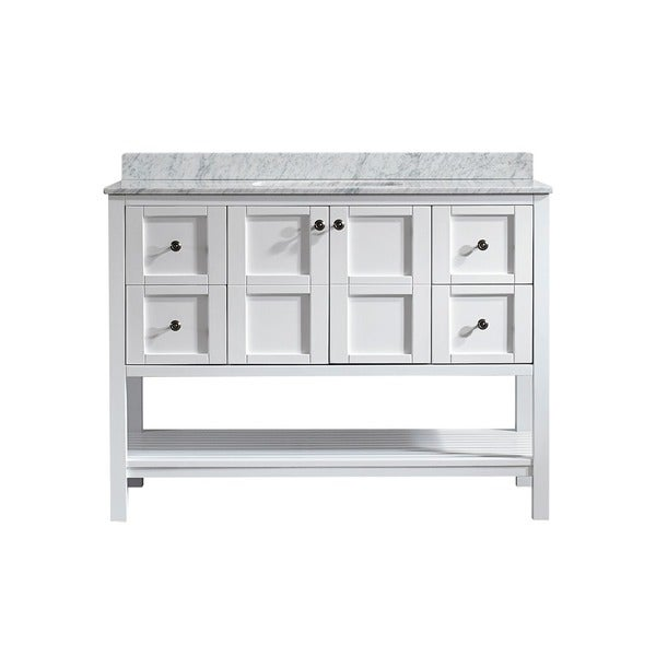 48 inch white mirrorless single vanity with carrara white marble top