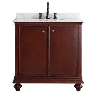Vinnova Venice 36-inch Antique Cherry Mirrorless Single Vanity with Carrara White Marble Top