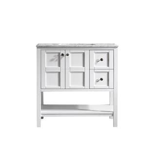 Vinnova Florence 36-inch White Mirrorless Single Vanity with Carrara White Marble Top