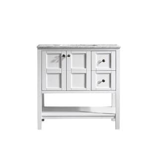 vinnova florence 36inch white mirrorless single vanity with carrara white marble top