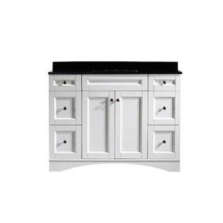 Vinnova Bologna 48-inch Single Vanity in White with Black Glaxy Granite Top (Mirrorless)