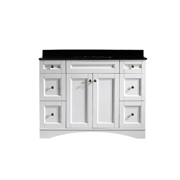 bologna 48 inch single vanity in white with black glaxy granite top
