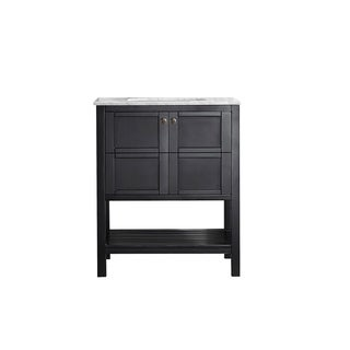 Florence 30-inch Single Vanity in Espresso with Carrera White Marble Top (Mirrorless)