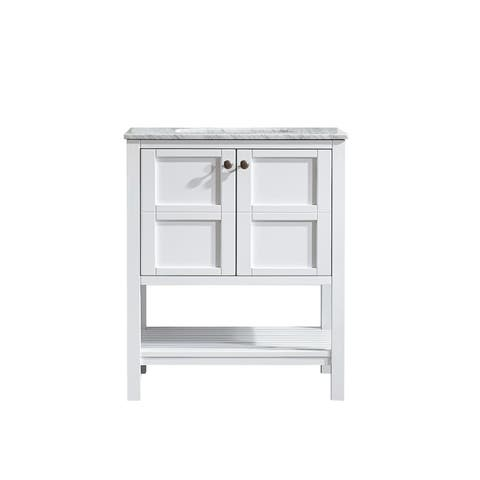 Vinnova Florence 30-inch Single Vanity in White with Carrara White Marble Top (Mirrorless)