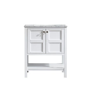 "Vinnova Florence 30"" Single Vanity in White with Marble Top Mirrorless"