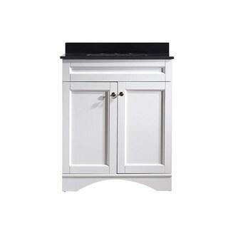 Vinnova Bologna 30-inch White Mirrorless Single Vanity with Black Glalaxy Granite Top