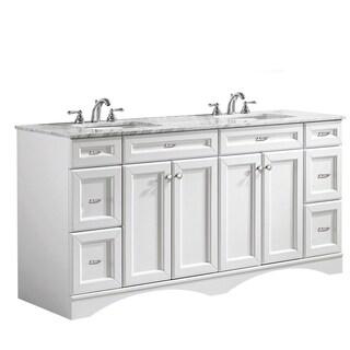 Vinnova Naples 72-inch Double White Mirrorless Vanity with Carrera White Marble Top