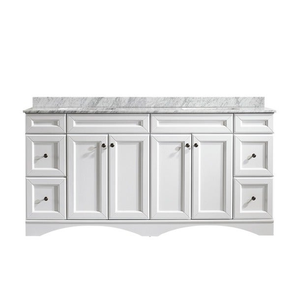 72 inch double white mirrorless vanity with carrera white marble top