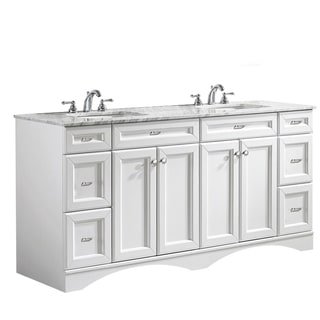 Link to Vinnova Naples 72-inch Double White Mirrorless Vanity with Carrera White Marble Top Similar Items in Bathroom Vanities