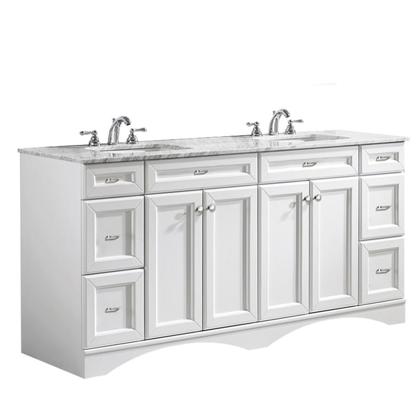 Shop Vinnova Naples 72 Inch Double White Mirrorless Vanity With