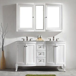 Vinnova Verona 60-inch Double White Vanity with Carrara White Marble Top, and Mirror