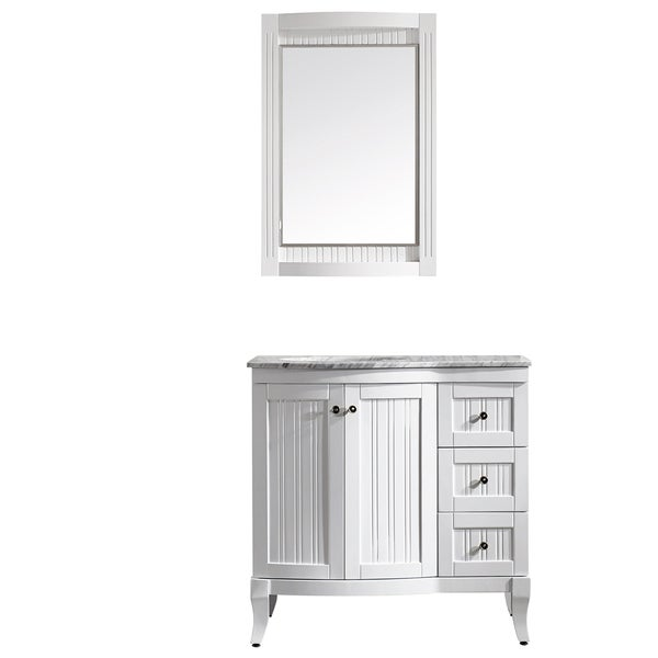 Vinnova Verona 36 Inch White Single Vanity With Carrara