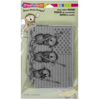 Stampendous House Mouse Cling Rubber Stamp 7.75inX4.5in Pkg Patriotic Painters