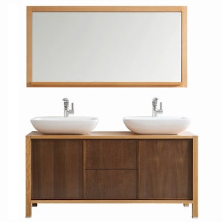 Vinnova Monza 60-inch American Red Oak Double Vanity with White Vessel Sink, and Mirror