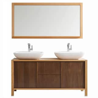 bathroom vanity double sink 60. Vinnova Monza 60 inch American Red Oak Double Vanity with White Vessel Sink  and Size Vanities 51 Inches Bathroom