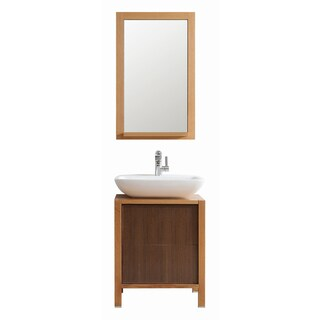 Vinnova Monza 24-inch American Red Oak Single Vanity with White Vessel Sink, and Mirror
