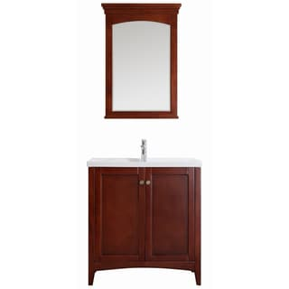 Vinnova Asti 30-inch Antique Cherry Single Vanity with White Drop-in Porcelain Vessel, and Mirror