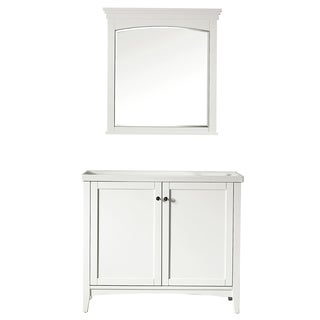 Vinnova Asti 40-inch White Single Vanity with White Drop-in Porcelain Vessel, and Mirror