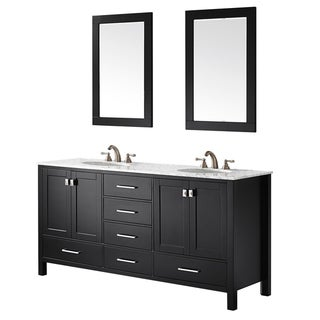 Vinnova Gela 72-inch Double Vanity in Espresso with Carrera White Marble Top with Mirror