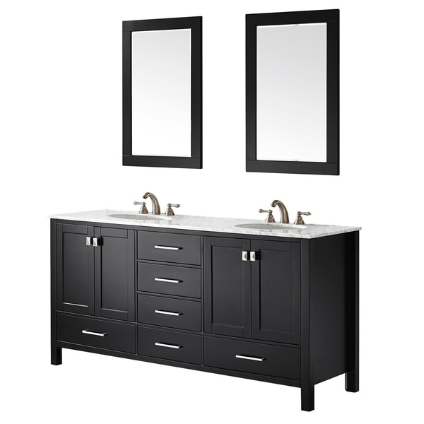 Vinnova Gela 72-inch Double Vanity in Espresso with Carrera White Marble Top with Mirror. Opens flyout.