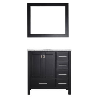 Gela 36-inch Single Vanity in Espresso with Carrera White Marble Top with Mirror