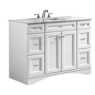 Vinnova Naples 48-inch Single Vanity in White with Carrera White Marble Top (Mirrorless)