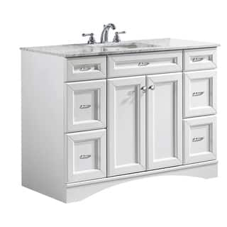 Vinnova Naples 48-inch Single Vanity in White with Carrera White Marble Top (Mirrorless)|https://ak1.ostkcdn.com/images/products/10298781/P17412514.jpg?impolicy=medium