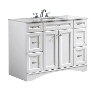 Vinnova Naples 48 Inch Single Vanity In White With Carrera White Marble Top  (Mirrorless