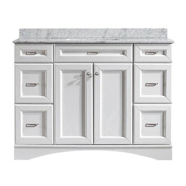 52 inch double sink bathroom vanity - Vinnova Naples 48 Inch Single Vanity In White With Carrera