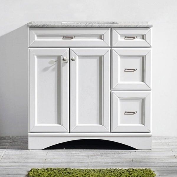 Vinnova Naples 36-inch Single White Mirrorless Vanity with Carrera White Marble Top