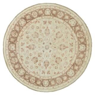Handmade Round White Wash Oushak Oriental Rug (6'9 x 6'9)