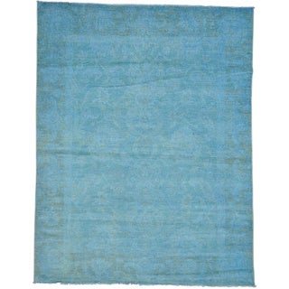 Hand-knotted Sky Blue Overdyed Peshawar Oriental Rug (8' x 10'2)