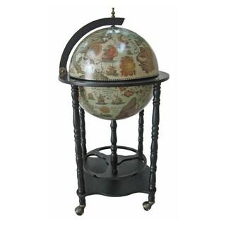 "Firenze Italian Style 20"" Diameter Floor Globe Bar w/ Twisted Floor Stand - White"