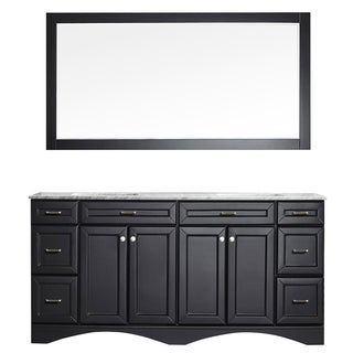 Vinnova Naples 72-inch Double Espresso Vanity with Carrera White Marble Top, and Mirror