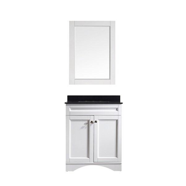 44 inch bathroom vanity cabinet - Vinnova Bologna 30 Inch White Single Vanity With Black Galaxy Granite