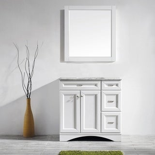 Naples 36-inch Single Vanity in White with Carrera White Marble Top with Mirror
