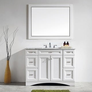 Vinnova Naples 48-inch Single White Vanity with Carrera White Marble Top, and Mirror