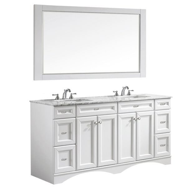 Vinnova Naples 72-inch Double White Vanity with Carrara White Marble Top, and Mirror