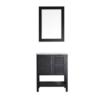 Vinnova Florence 30-inch Single Vanity in Espresso with Carrera White Marble Top with Mirror